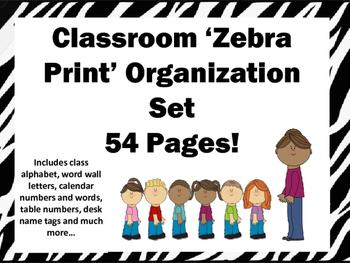 Zebra Print Classroom Decor Organization Set 54 pages