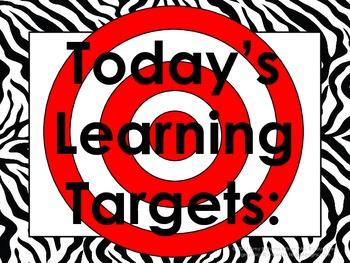 Zebra-Print Daily Learning Targets Bulletin Board Set
