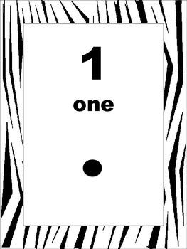 Zebra Print Number Cards 1-20