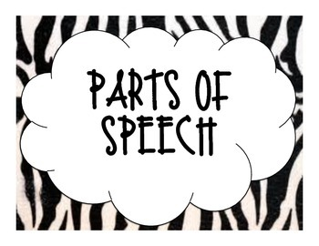 Zebra Print Parts of Speech Posters