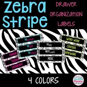 Zebra Print Drawer Organization Labels--4 Bright Colors!
