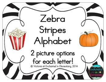 Zebra Stripes Alphabet Cards