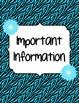 Zebra Teacher Binder Dividers and Beginning Year Informati