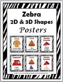 2D Shapes and 3D Shapes - Zebra Theme
