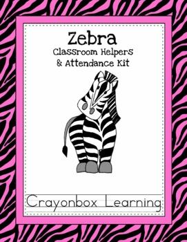 Zebra Theme Classroom Helpers & Attendance Kit