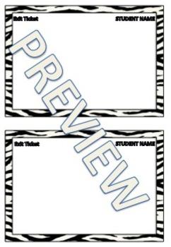 Zebra Theme Exit Tickets - Editable