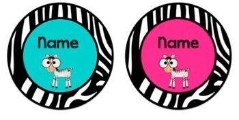 Zebra Theme Name Plates / Tags Hot Pink & Turquoise Editable!