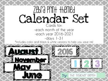 Zebra Themed Calendar Set
