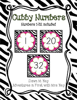Zebra and Flower Themed Cubby Labels {Numbers}