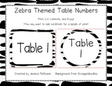 Zebra Themed Table Numbers- Option 2