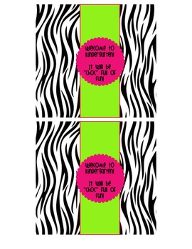 "Zebra Themed ""Welcome to ____ Grade"" Candy Bar Wrappers"