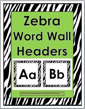 Zebra Theme Alphabet Word Wall Headers - Alphabet Cards -
