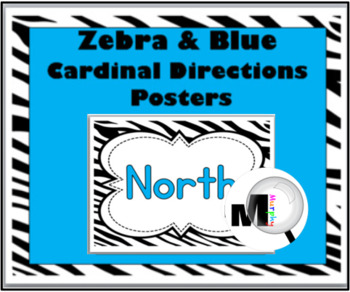 Zebra Theme with Blue Cardinal Directions Posters
