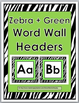 Word Wall Headers - Zebra Theme