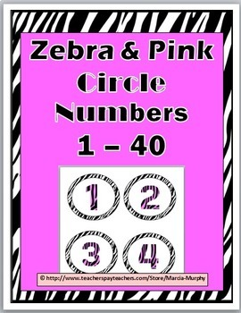 Zebra  Theme with Pink Circle Numbers / Labels 1 - 40