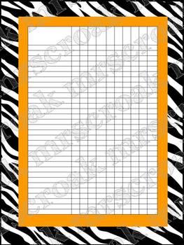 Classroom Charts: Zebra & Orange (editable)