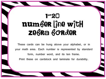 Zebra themed number line