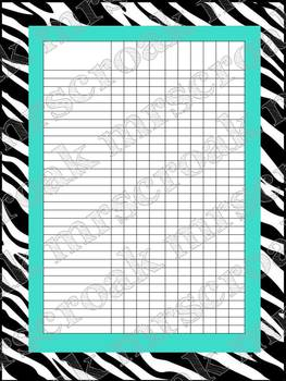 Classroom Charts: Zebra with turquoise (editable)