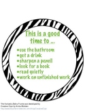Zebra/Jungle Theme Freebie - This is a good time to