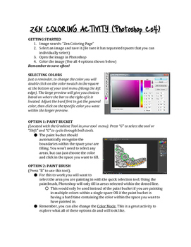 Zen Coloring Page - Digital Art (Photoshop CS4 Sub Plan)