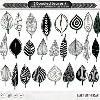 Zen Doodled Leaves Clipart, Decorative Stamps, Leaf Clip A