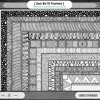 Zentangle 8x10 Border ClipArt, Digital Frame, Hand Drawn P
