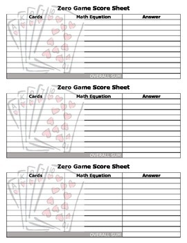 Zero Game - Adding, Subtracting, Multiplying, and Dividing