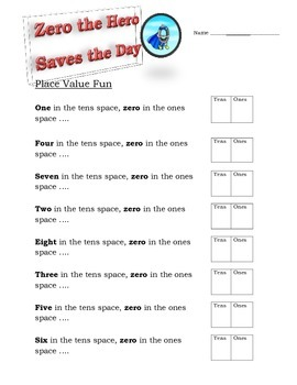 Zero the Hero Saves the Day Place Value Worksheet