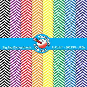 Zig Zag Backgrounds — Primary Colors (11 Backgrounds)