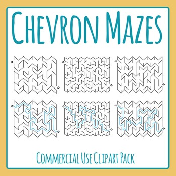 Zig Zag or Chevron Mazes with Solutions Clip Art Set for C