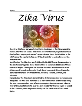 Zika Virus Fever - Lesson Facts Information Questions Voca