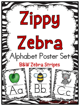 Zippy Zebra Stripe Alphabet Poster Set