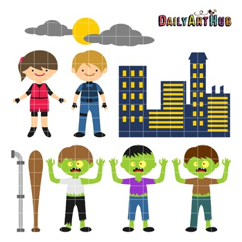 Zombie Apocalypse The Cute Edition Clip Art - Great for Ar