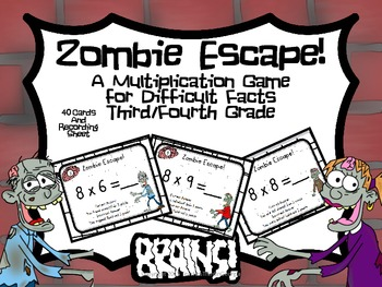 Zombie Escape! Multiplication Game for Difficult Facts- Gr