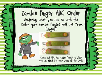 Zombie Finger Post It Freebie