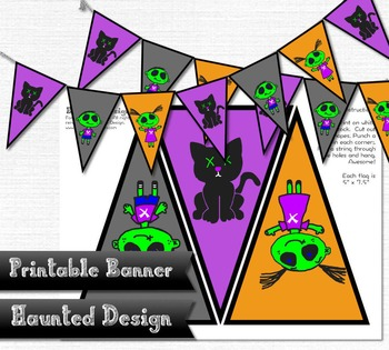 Zombie Kids and Cat Party Printable Banner Decoration Hall