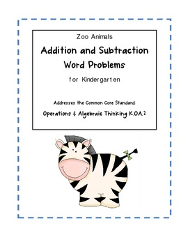 Zoo Animal Addition & Subtraction Word... by Fantastic First Grade ...