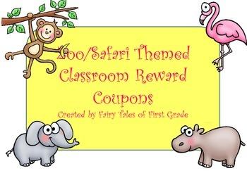 Zoo Animal Classroom Reward Coupons