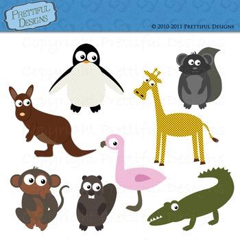 Zoo Animal Clip Art Alligator Monkey Penguin Kangaroo Gira