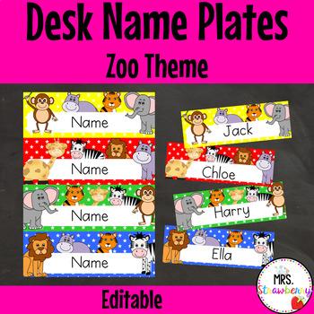 Zoo Animal Desk Name Plates   Labels **Editable**