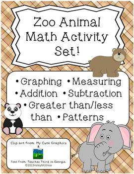 Zoo Animal Math Activity Set Graphs Patterns Dice Math