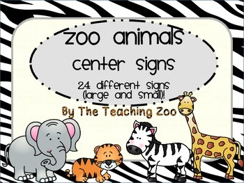 Zoo Animal Print Center Signs and Rotation Cards {Jungle S