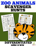 Zoo Animal Scavenger Hunt (Color and B/W)