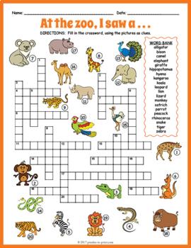 Zoo Animals Crossword Puzzle