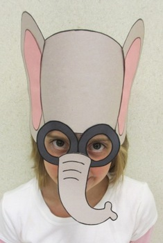 Zoo Animals Elephant Sentence Strip Hat Mask