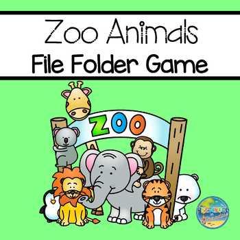 Zoo Animals File Folder Game