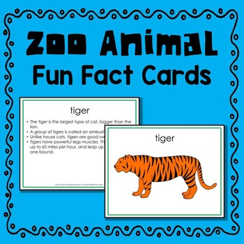 Zoo Animal Fun Fact Cards (informational text)