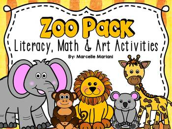 Zoo animals literacy & math worksheets and centers for kin