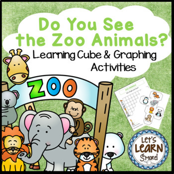Zoo Animals Math,  Learning Cube, Roll, Graph and Count Ac