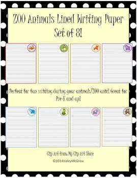 Zoo Animals Lined Writing Paper